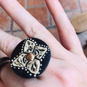 Gorgeous Handpainted Coco Wood Ring